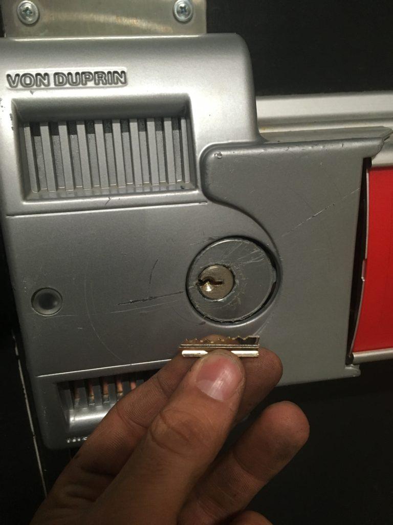 Broken key extracted from security door in Tolland
